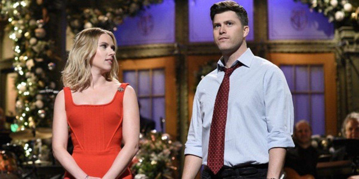 Scarlett Johansson and Colin Jost on Saturday Night Live