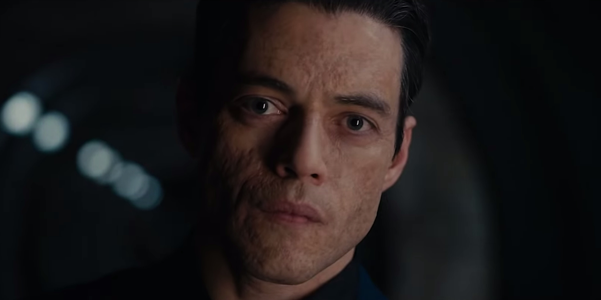 No Time To Die Rami Malek stares with quiet menace
