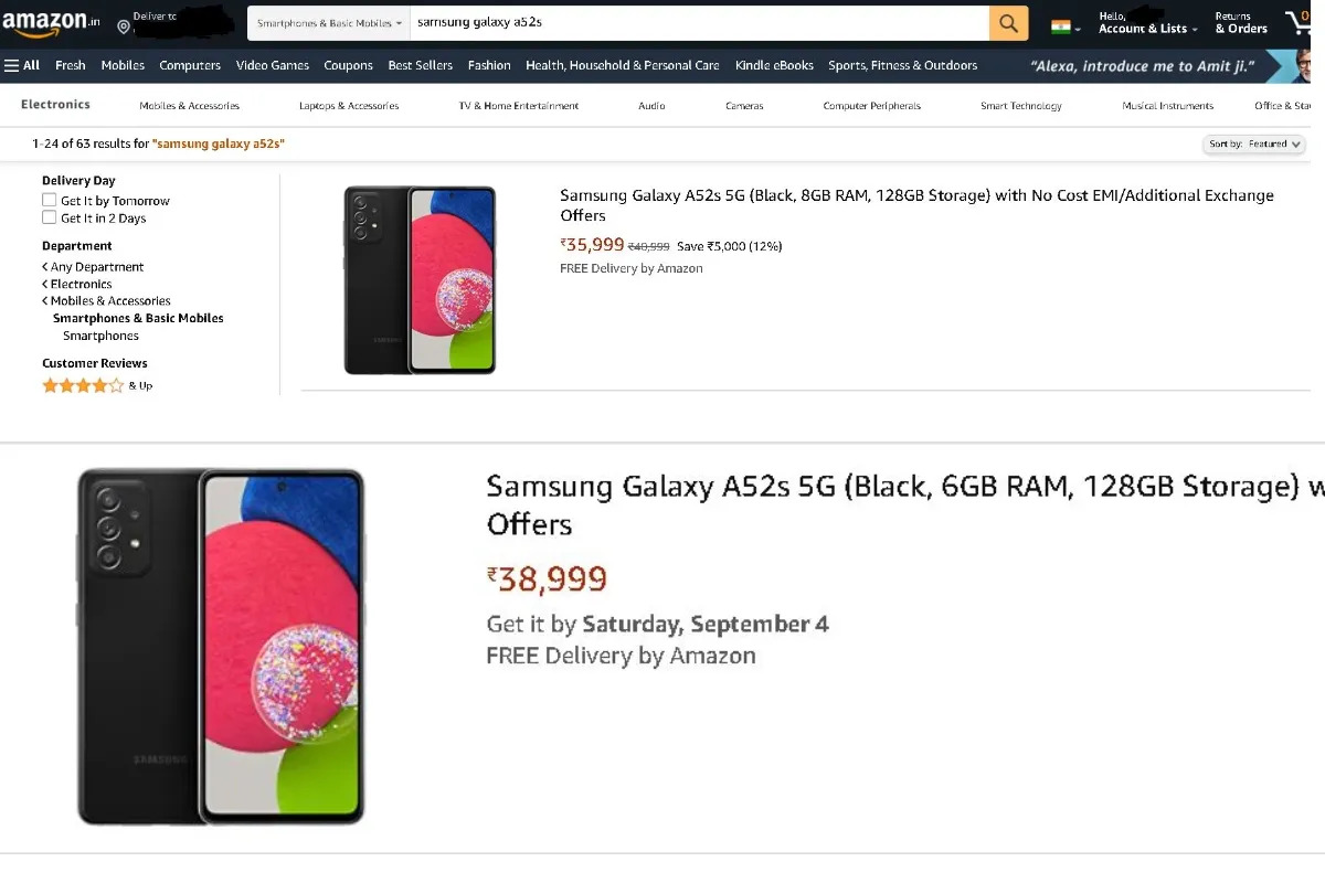 Samsung Galaxy A52s Amazon leaked price