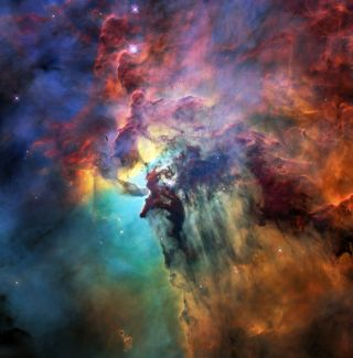 A Hubble Space Telescope image shows the Lagoon Nebula, part of the small portion of matter in the Milky Way that isn't made of dark matter.