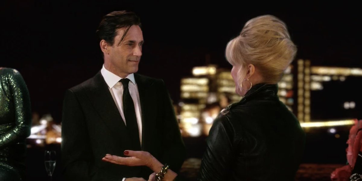 Jon Hamm and Joana Lumley in Absolutely Fabulous: The Movie