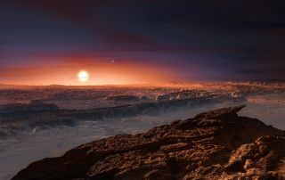Astronomers have discovered an Earth-like planet, named Proxima b, orbiting the red dwarf star Proxima Centauri, the closest star to the solar system, as seen in this artist's impression.