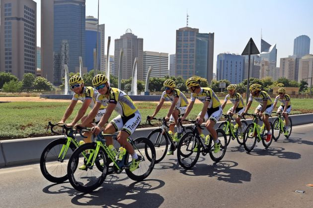 Tinkoff in their new kit ahead of the Abu Dhabi Tour (photo: Tinkoffteam.com)