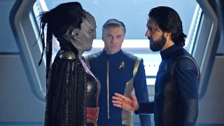 "In ""Star Trek: Discovery,"" Mary Chieffo stars as the Klingon L'Rell (left), Anson Mount is Captain Pike (center) and Shazad Latif plays Ash Tyler."