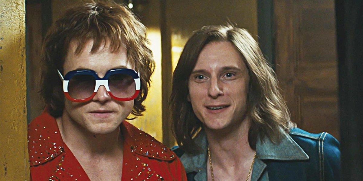 Taron Egerton and Jamie Bell as Elton John and Bernie Taupin in Rocketman