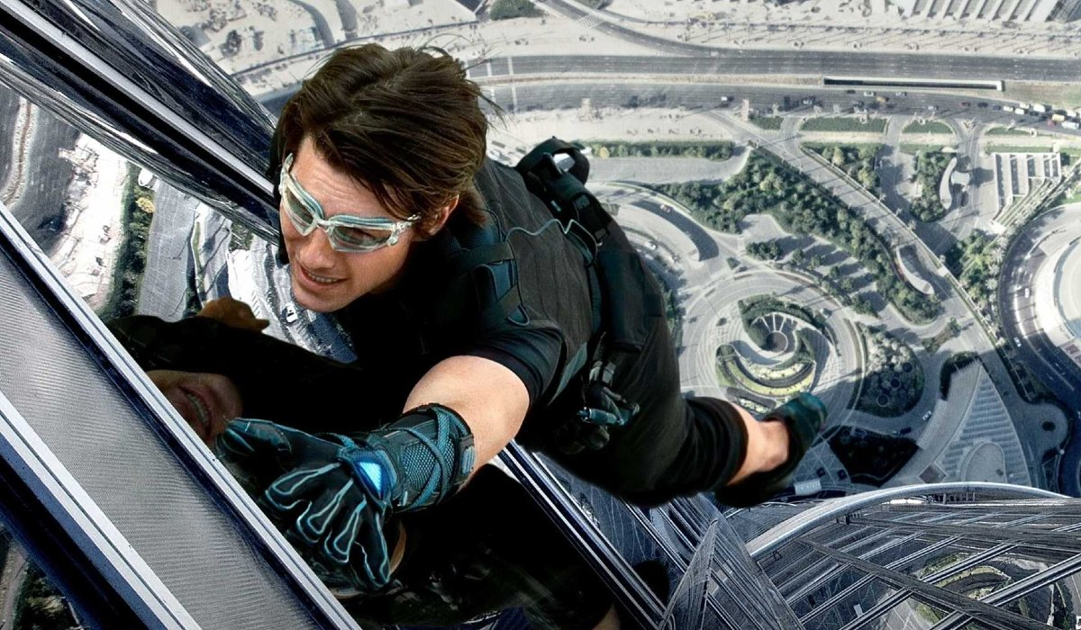 Mission: Impossible - Ghost Protocol Ethan Hunt hangs off of a skyscraper