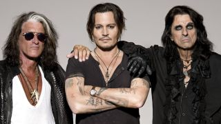 Hollywood Vampires members Joe Perry, Johnny Depp and Alice Cooper