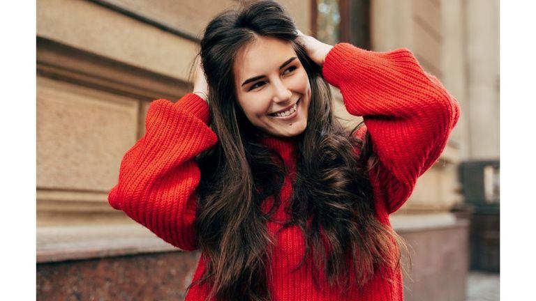 Woman smile long hair