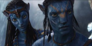 Zoe Saldana as Neytri and Sam Worthington as Jake Sully in Avatar (2009)