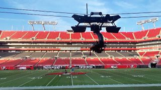 The CBS Sports trolley camera at Super Bowl LV in Tampa, Florida.