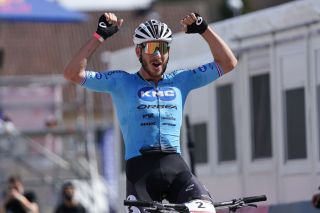 ALBSTADT GERMANY MAY 09 Victor Koretzky of France celebrates first place in CrossCountry Olympic Men Elite during the UCI Mountain Bike World Cup on May 09 2021 in Albstadt Germany Photo by Christian KasparBartkeGetty Images
