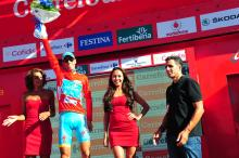 Vincenzo Nibali (Astana) is once again back in the Vuelta a Espana leader's jersey and was joined on stage by 5-time Tour de France champion Miguel Indurain