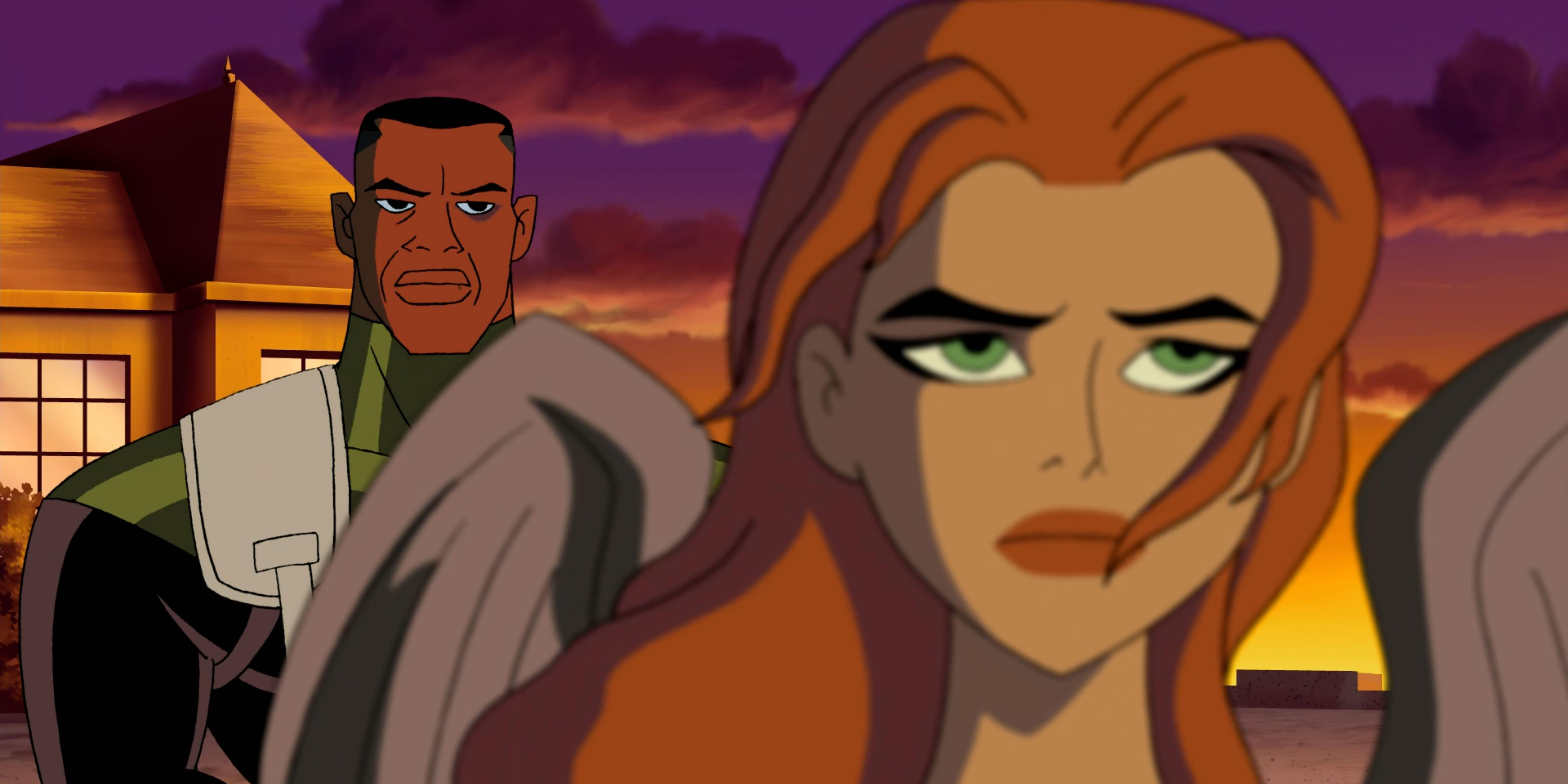 Green Lantern looks on at Hawkgirl.