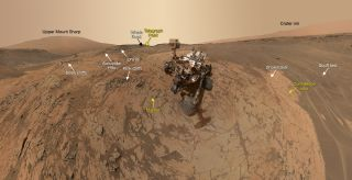 "This selfie taken by NASA's Mars rover Curiosity shows the vehicle at the ""Mojave"" drilling site in the foothills of Mount Sharp. The image is a composite of photos taken by Curiosity in late January 2015."