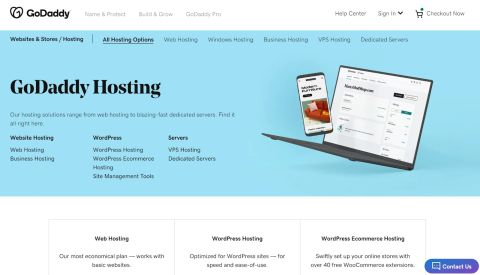 GoDaddy's web hosting homepage