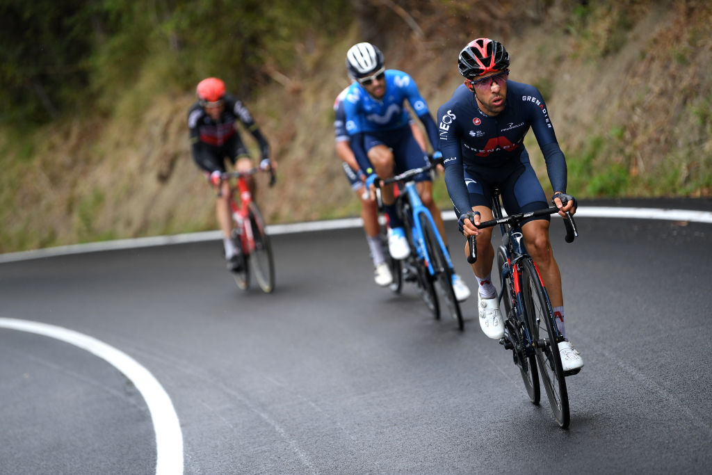 ROCCARASO ITALY OCTOBER 11 Jonathan Castroviejo of Spain and Team INEOS Grenadiers Eduardo Sepulveda of Argentina and Movistar Team Breakaway during the 103rd Giro dItalia 2020 Stage 9 a 207km stage from San Salvo to Roccaraso Aremogna 1658m girodiitalia Giro on October 11 2020 in Roccaraso Italy Photo by Tim de WaeleGetty Images