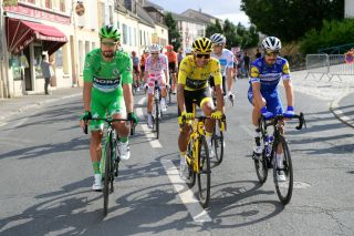 PARIS FRANCE JULY 28 Peter Sagan of Slovakia and Team BoraHansgrohe Green Sprint Jersey Egan Bernal of Colombia and Team INEOS Yellow Leader Jersey Julian Alaphilippe of France and Team Deceuninck QuickStep during the 106th Tour de France 2019 Stage 21 a 128km stage from Rambouillet to Paris Champslyses TDF TDF2019 LeTour on July 28 2019 in Paris France Photo by Peter De VoechtPoolGetty Images