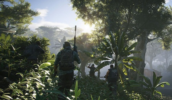 Soldiers move through a jungle in ghost recon wildlands