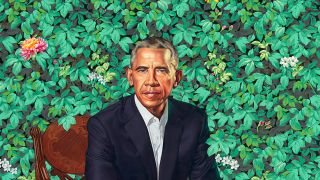 Barack Obama painted against a floral background