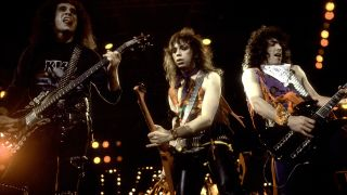 Kiss onstage in 1984: Gene Simmons Vinnie Vincent, Paul Stanley
