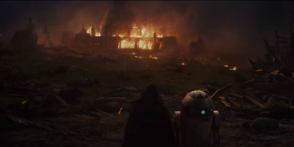 Star Wars: The Last Jedi burning building