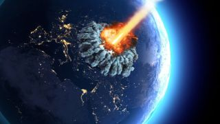 An illustration of an asteroid or meteor striking Earth.