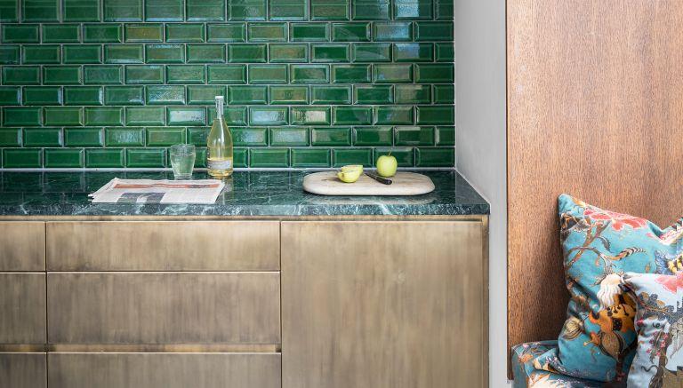 Colored kitchen countertops trend, green kitchen worktops