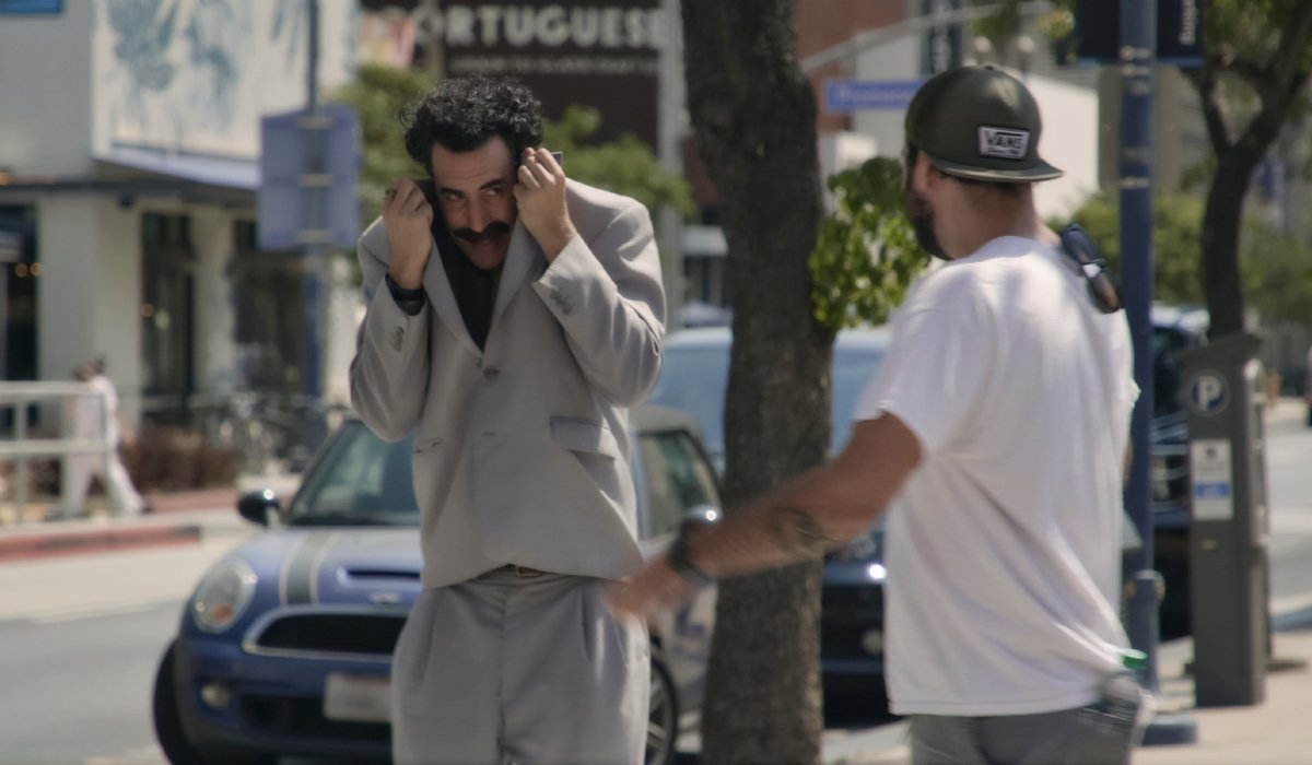 Borat Subsequent Moviefilm Borat hides from a fan in his jacket