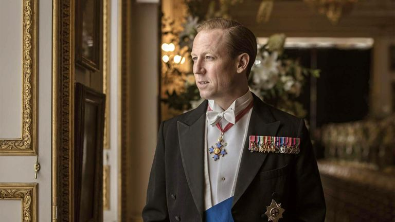 THE CROWN Netflix TV series with Tobias Menzies as Philip, Duke of Edinburgh