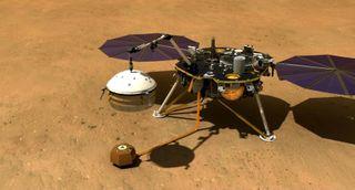 InSight Lander Using Arm on Mars