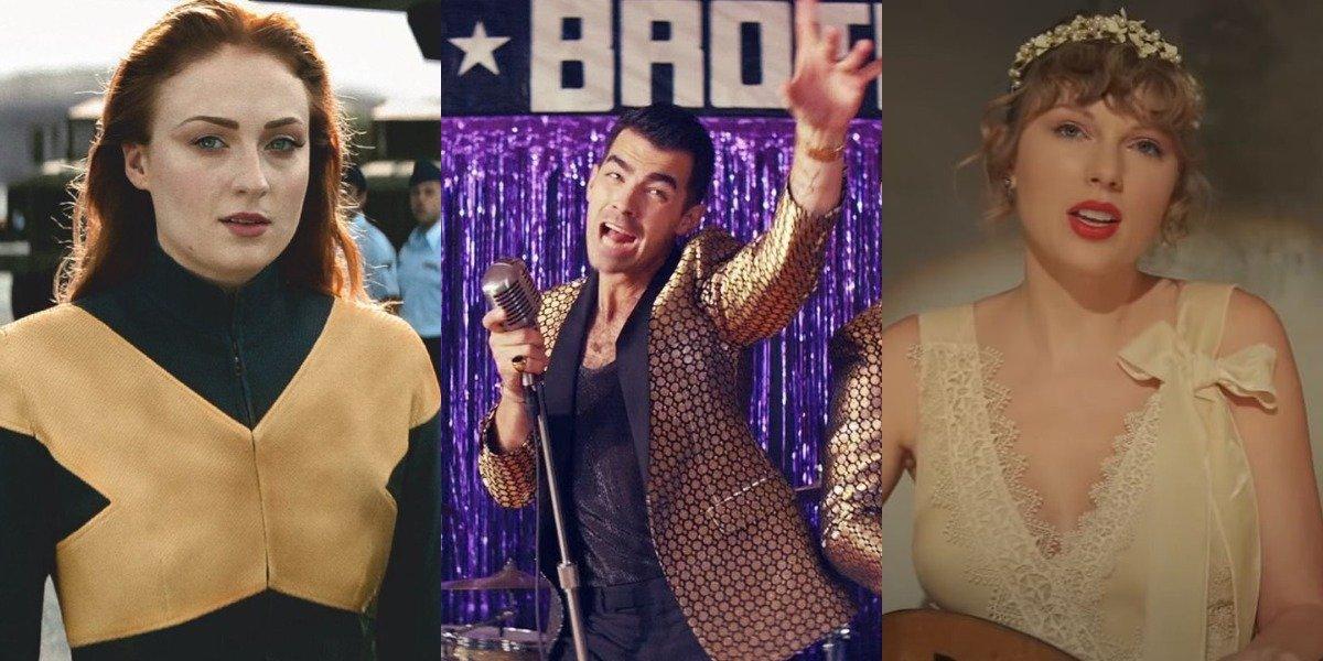 Sophie Turner in X-Men, Joe Jonas in Jonas Brothers music video, Taylor Swift in Evermore music video
