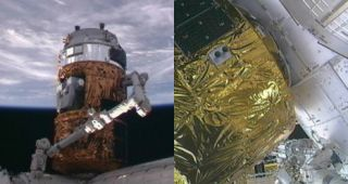 The Japanese Kounotori 2 H-2 Transfer Vehicle (HTV-2) was attached to the International Space Station's Harmony module using the station's robotic arm.