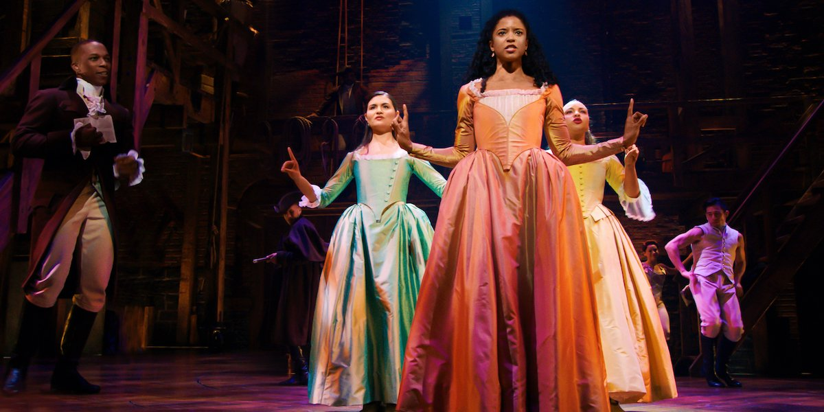 The Schuyler Sisters and Aaron Burr in Hamilton