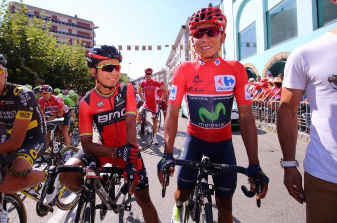 Nairo Quintana (Movistar) with BMC's Darwin Atapuma on the start line