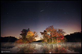 Astrophotographer Jeff Berkes snapped this amazing photo of an Orionid meteor streaking above a lake in Elverson, Pa., on Oct. 22, 2011, during the peak of the annual Orionid meteor shower.