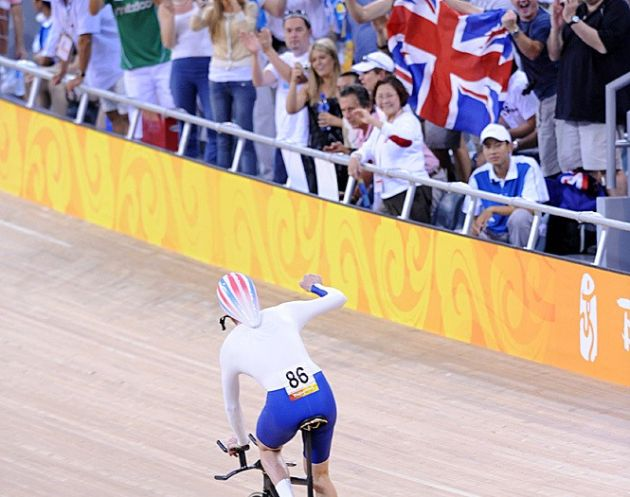 Bradley Wiggins celebrates winning 2008 individual pursuit Olympic title in Beijing