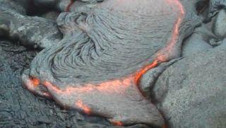 'Pele's braids' seen in the lava on Hawaii's Kilauea volcano.