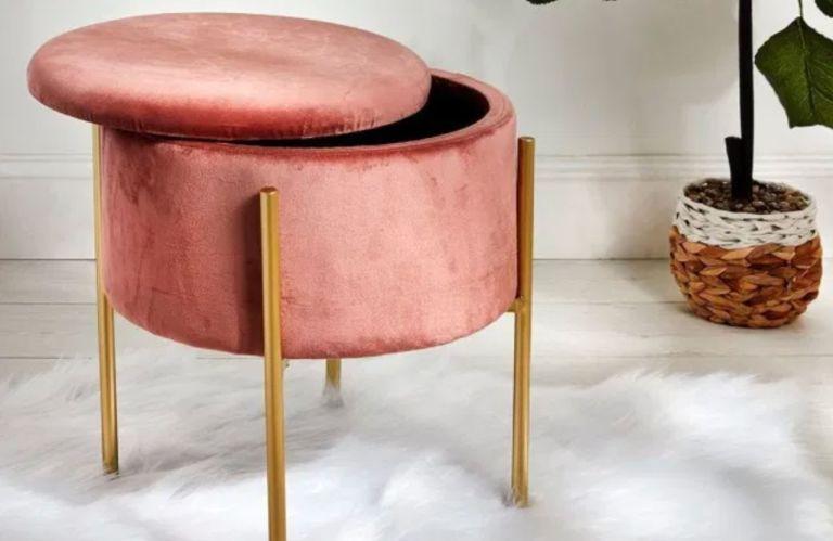 Primark pink velvet stool