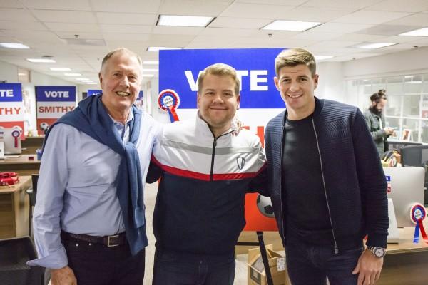 Sir Geoff Hurst, James Corden and Steven Gerrard in Sport Relief sketch