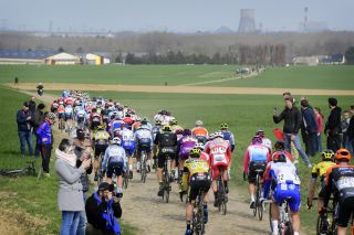 A rear view of the peloton and the cobbles of northern France