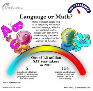 infographic shows people with high language versus math skills
