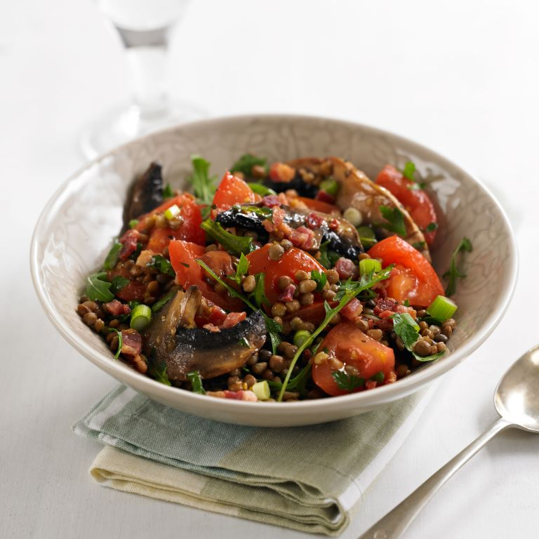 Photo of a lentil and mushroom salad recipe