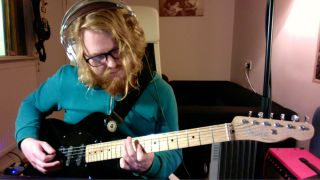 Tom Peters of Alpha Male Tea Party plays a Fender Classic Player Triple Tele electric guitar