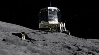 Artist's concept of the European Space Agency's Philae lander on Comet 67P/Churyumov-Gerasimenko. Philae touched down on the comet on Nov. 12, 2014; it may actually have bounced off after the initial attempt and come back down again.