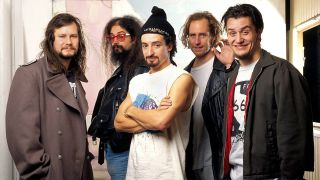 A press shot of Faith No More taken in the 90s