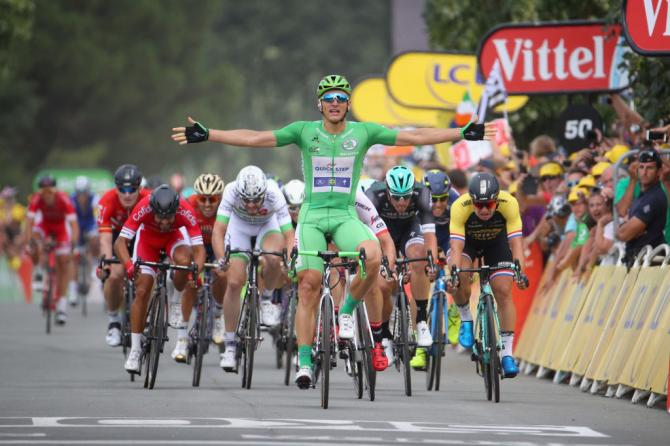Marcel Kittel with enough room for an early celebration on stage 10 of the Tour de France