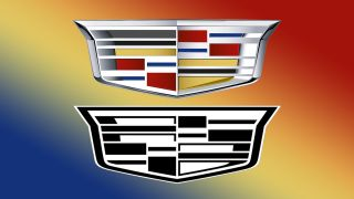 A comparison between the old and new Cadillac logo.