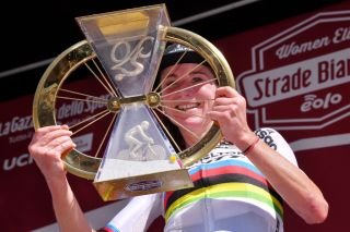 SIENA ITALY AUGUST 01 Podium Annemiek Van Vleuten of The Netherlands and Team Mitchelton Scott World Champion Jersey Celebration Trophy during the Eroica 6th Strade Bianche 2020 Women Elite a 136km race from Siena to Siena Piazza del Campo StradeBianche on August 01 2020 in Siena Italy Photo by Luc ClaessenGetty Images