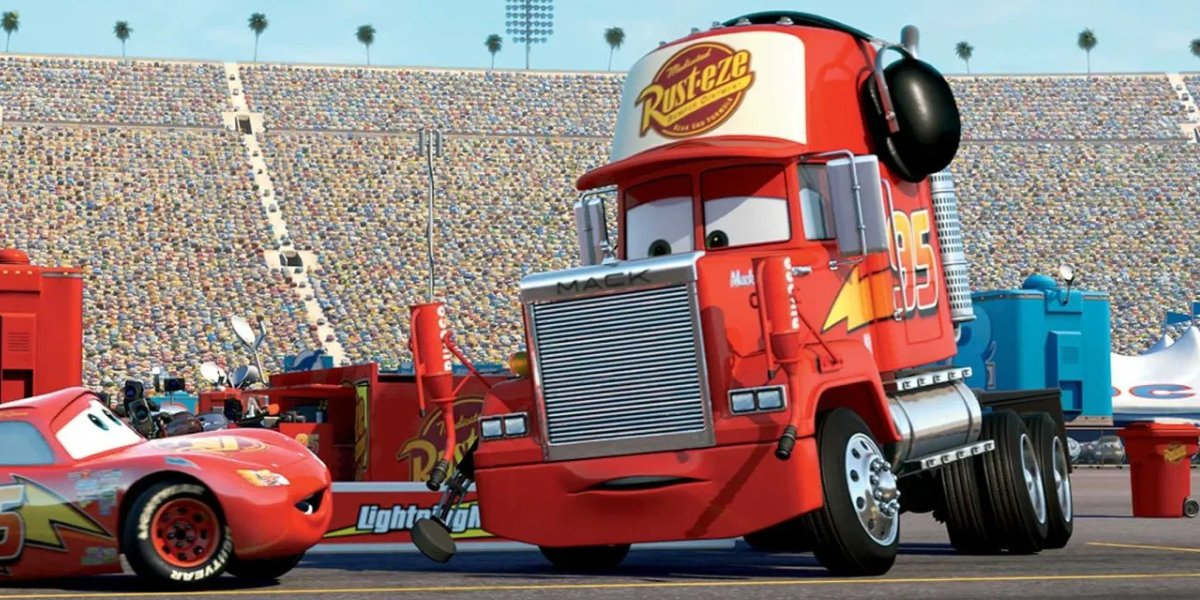 Owen Wilson as Lightning McQueen and John Ratzenberger as Mack in Cars