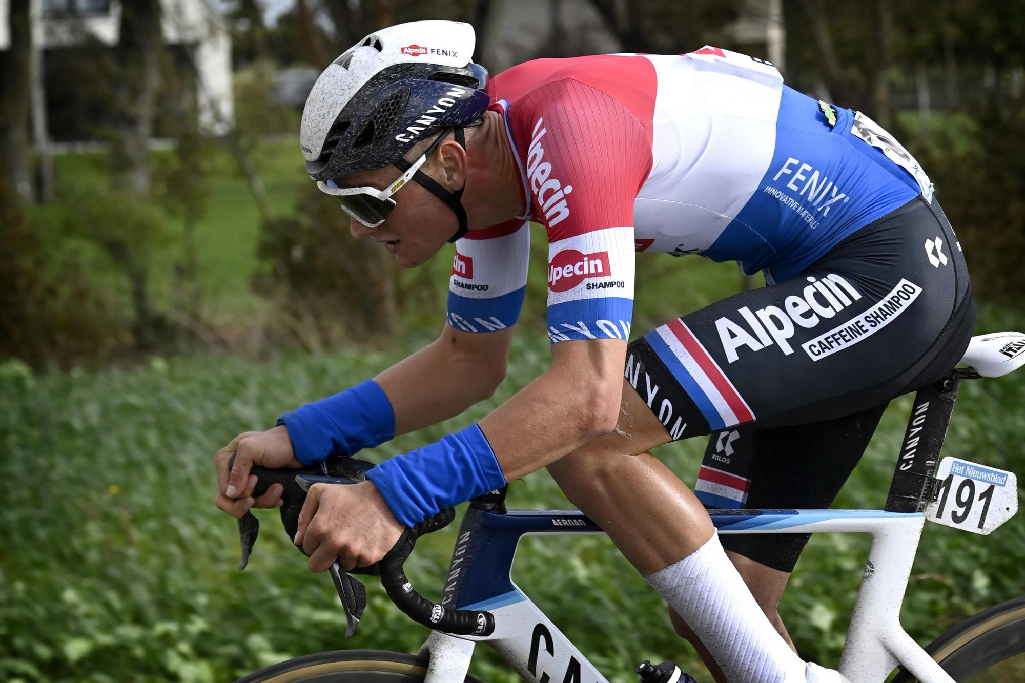 Dutch road-race champion Mathieu van der Poel (Alpecin-Fenix) at the 2020 Driedaagse Brugge-De Panne before he crashed out of the Belgian race and ended his road season